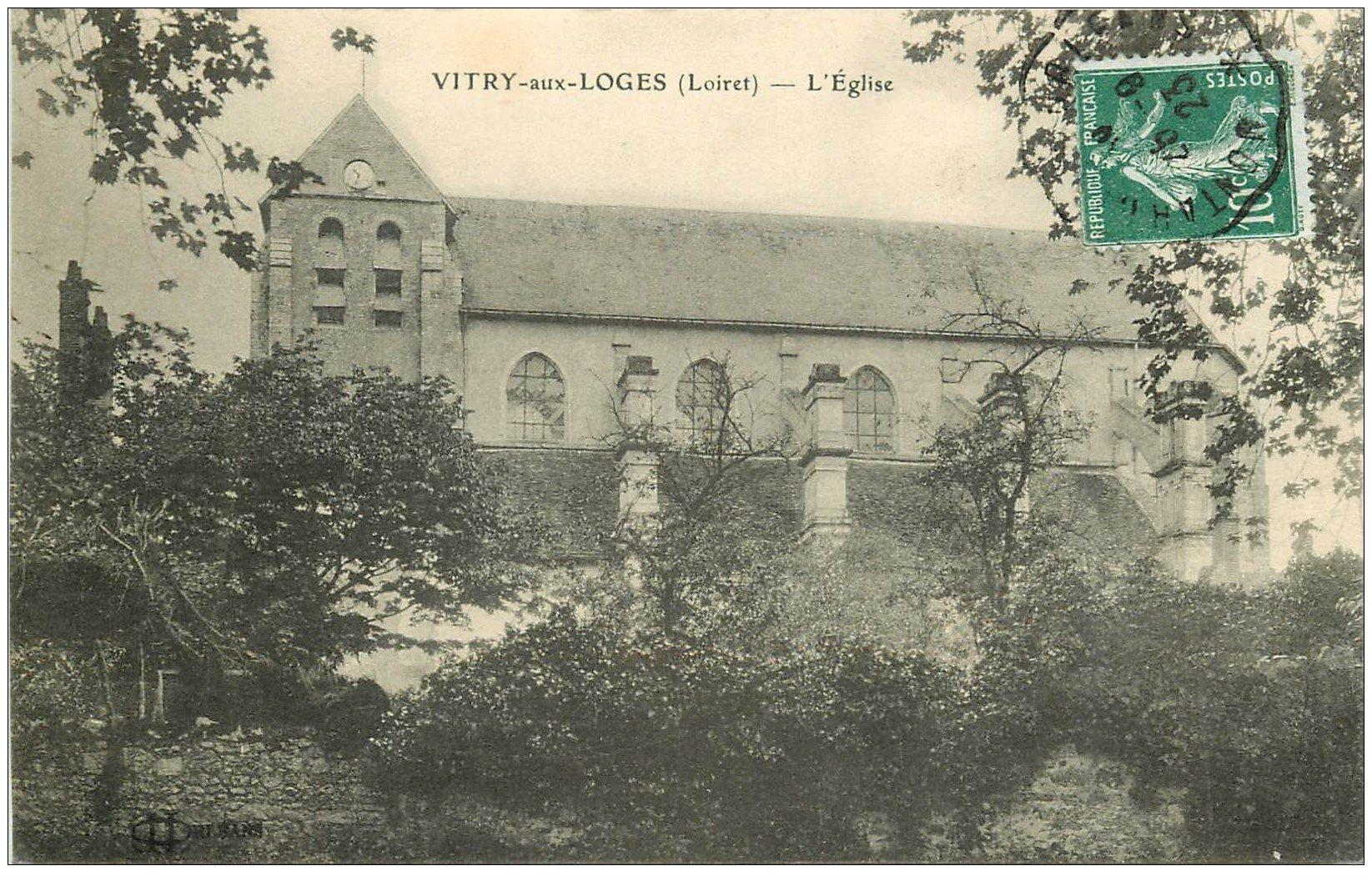 carte postale ancienne 45 VITRY-AUX-Loges. L'Eglise 1923