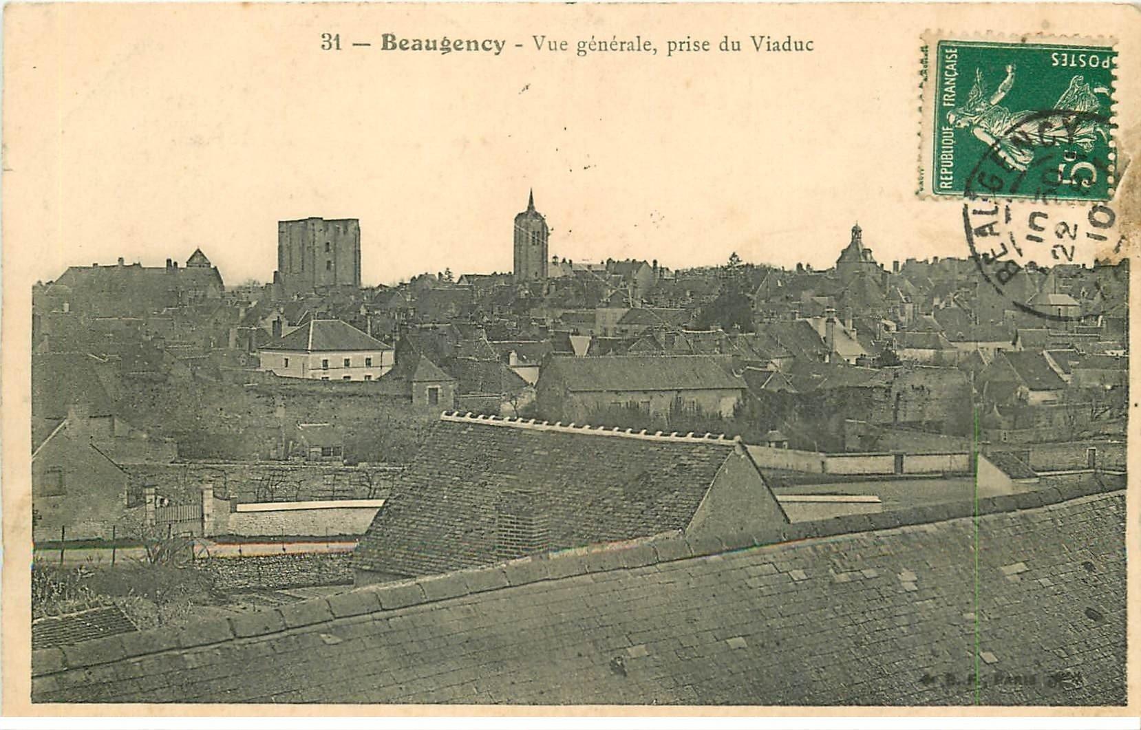 carte postale ancienne 45 BEAUGENCY. Vue générale 1910