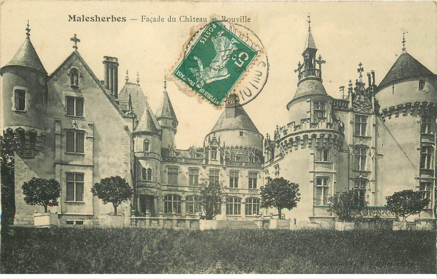 carte postale ancienne 45 MALESHERBES. Château de Rouville 1912