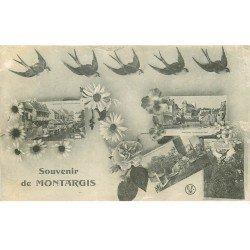 carte postale ancienne 45 MONTARGIS. Multivues et Hirondelles