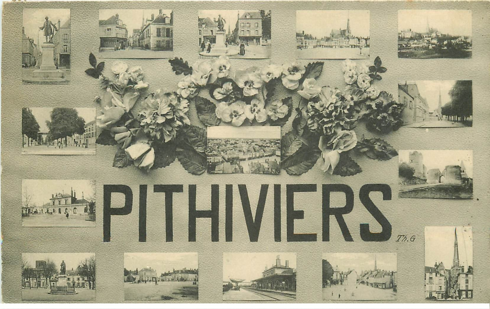 carte postale ancienne 45 PITHIVIERS. Multivues 1910