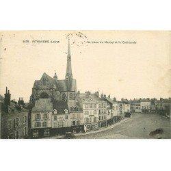 carte postale ancienne 45 PITHIVIERS. Cathédrale Place du Martroi 1916