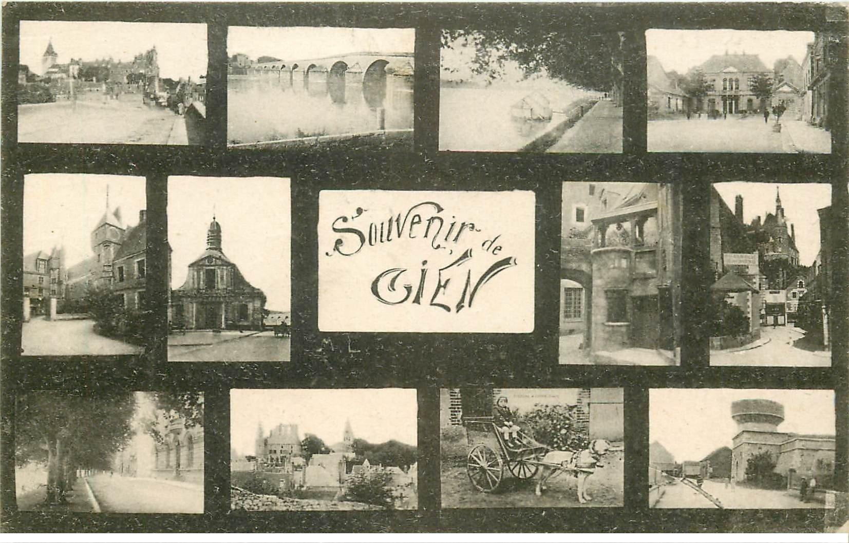 carte postale ancienne 45 GIEN. Multivues 1918