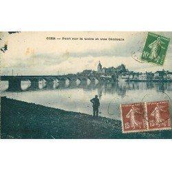 carte postale ancienne 45 GIEN. Pont sur la Loire 1923