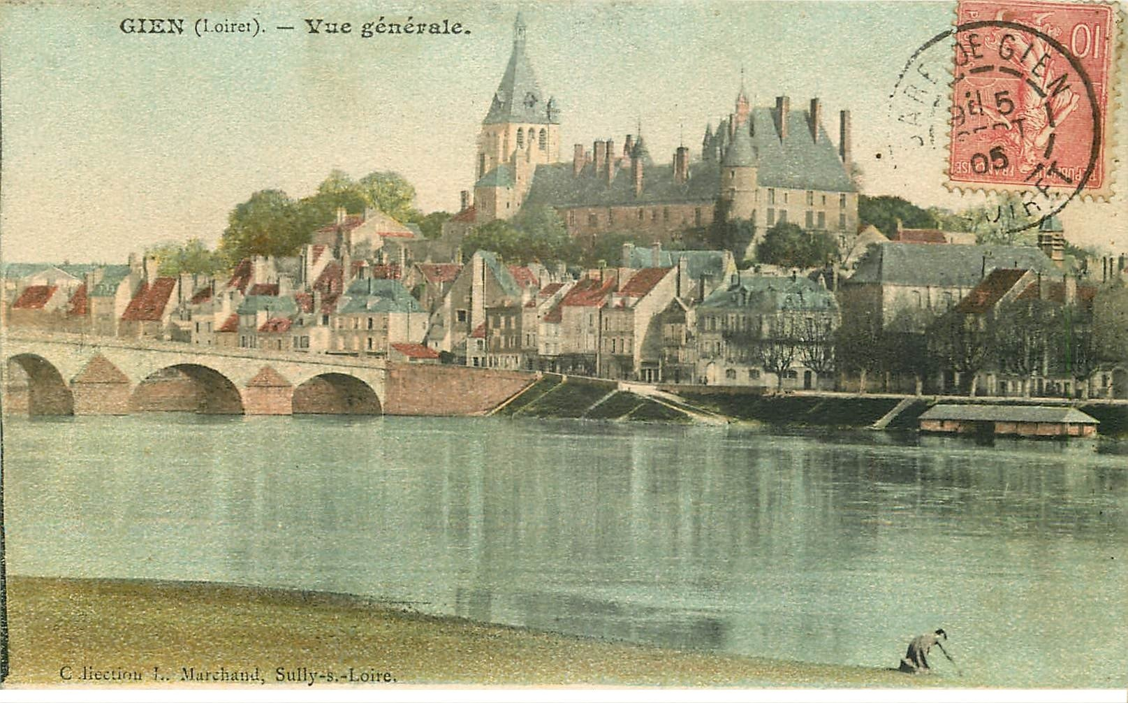 carte postale ancienne 45 GIEN. Vue générale 1905