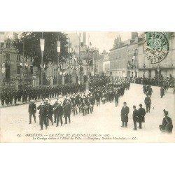 carte postale ancienne 45 ORLEANS. Cortège Pompiers et Sociétés musicales 1907. Fête Jeanne d'arc