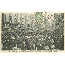 carte postale ancienne 45 ORLEANS. La Musique des Sapeurs Pompiers 1906. Fête Jeanne d'Arc
