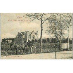 carte postale ancienne 11 BRAM. Couvent de Prouille. attelage 1906
