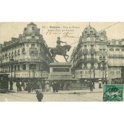 carte postale ancienne 45 ORLEANS. Lot intéressant de 7 CPA aux environs de 1910. Place du Martroi et Rue République