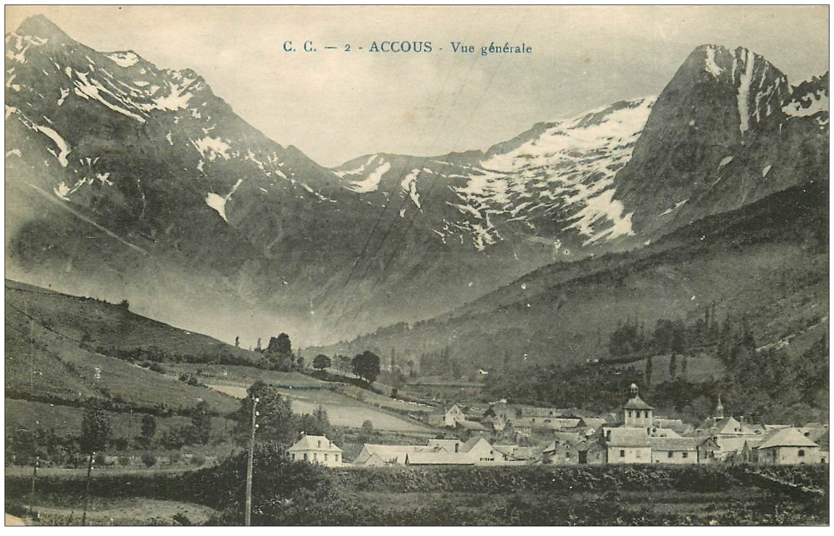 carte postale ancienne 64 ACCOUS. Le Village