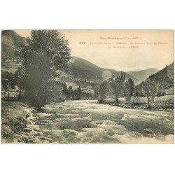 carte postale ancienne 64 ARROS. El Garona Bajo del Pueblo 1932