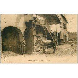 carte postale ancienne 64 ARUDY. L'Auberge avec Mule 1907
