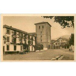 carte postale ancienne 64 ASCAIN. Eglise et Hôtel de la Rhune 1933 superbe voiture