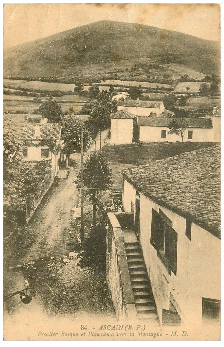 carte postale ancienne 64 ASCAIN. Escalier Basque