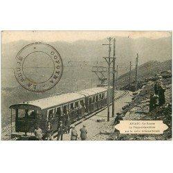 carte postale ancienne 64 ASCAIN. Le Tram-crémaillière sur la Crête internationale. La Rhune 1925