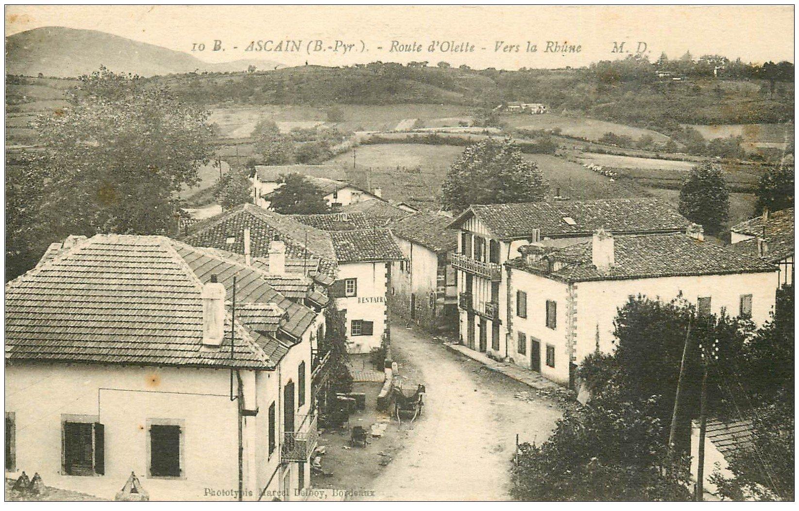 carte postale ancienne 64 ASCAIN. Restaurant Route d'Olette
