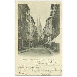 carte postale ancienne 64 BAYONNE. 1900 Rue du Pont Neuf. Timbre 1900