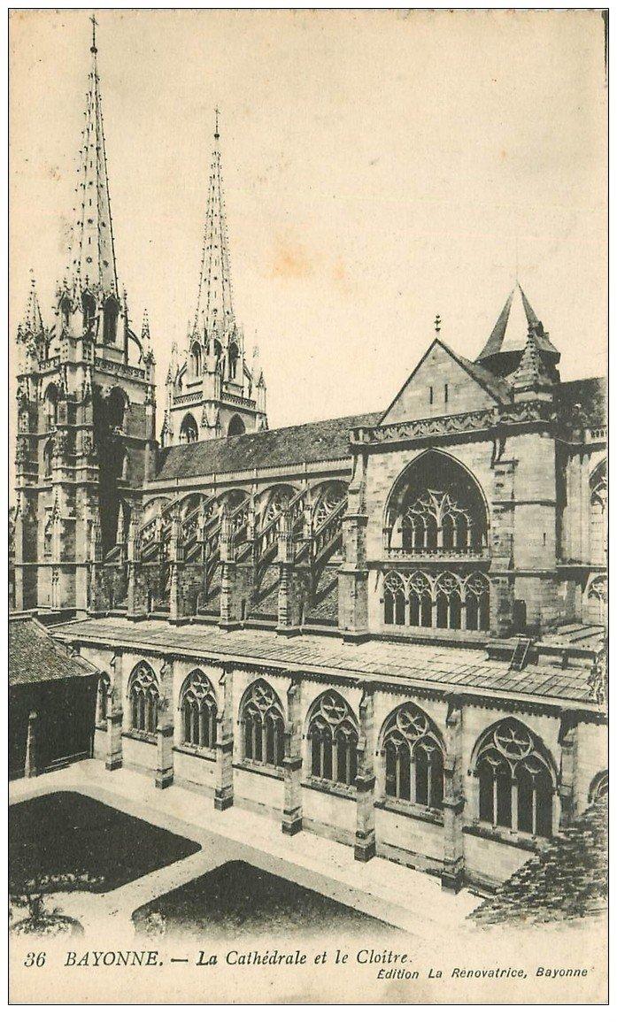 carte postale ancienne 64 BAYONNE. Cathédrale et Cloître