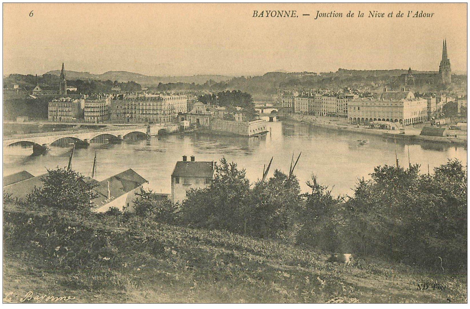 carte postale ancienne 64 BAYONNE. Jonction Nive et Adour