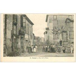 carte postale ancienne 11 CANET. Rue de la Place. Boulangerie