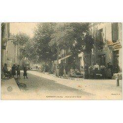 carte postale ancienne 11 CAPENDU. Avenue de la Gare 1905. Matériaux de Costruction Fourès