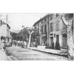 carte postale ancienne 11 CAPENDU. Avenue de la République. Coiffeur, Boucherie et Tabac