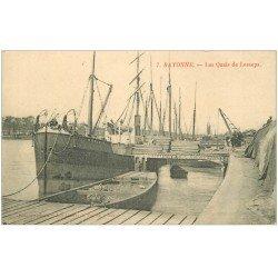carte postale ancienne 64 BAYONNE. Navire Rosario Quais de Lesseps