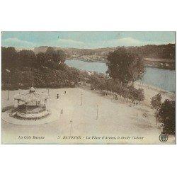 carte postale ancienne 64 BAYONNE. Place d'Armes et Adour