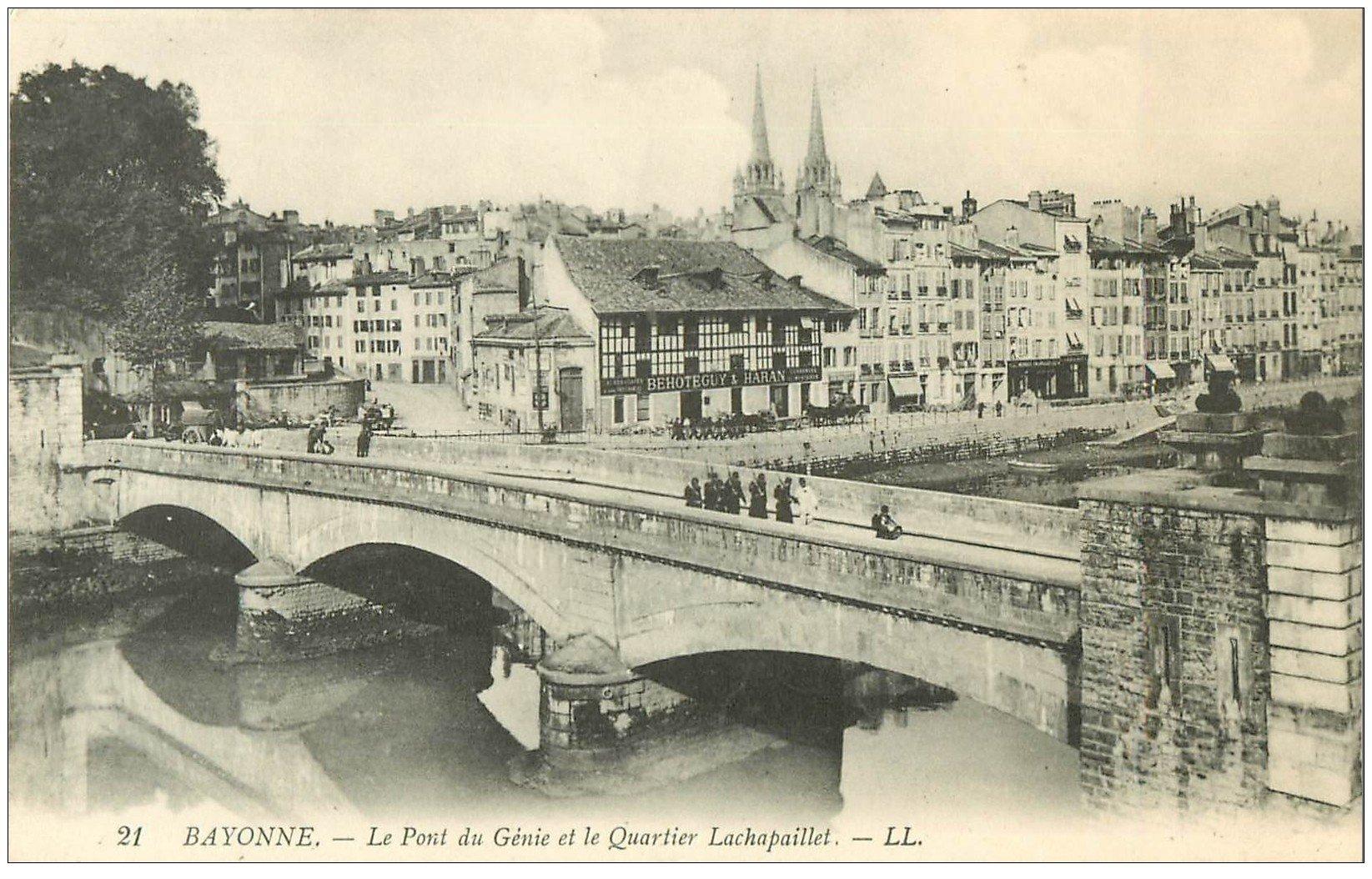 carte postale ancienne 64 BAYONNE. Pont du Génie Quartier Lachapaillet