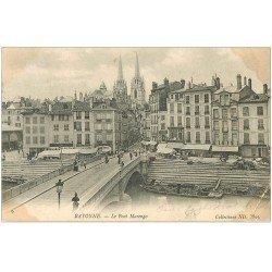 carte postale ancienne 64 BAYONNE. Pont Marengo 1905. Pli coin droit
