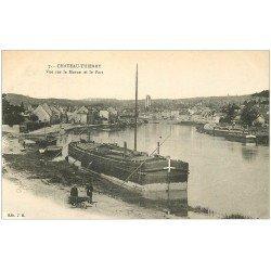 carte postale ancienne 02 CHATEAU-THIERRY. Port et Péniche sur la Marne