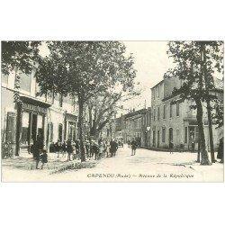 carte postale ancienne 11 CAPENDU. Pharmacie Avenue de la République