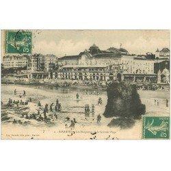 carte postale ancienne 64 BIARRITZ. Baigneurs Grande Plage 1908