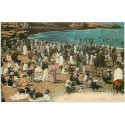 carte postale ancienne 64 BIARRITZ. Bain de Soleil au Port Vieux