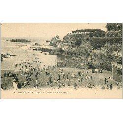 carte postale ancienne 64 BIARRITZ. Bains au Port-Vieux 1927