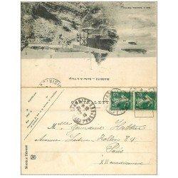 carte postale ancienne 64 BIARRITZ. Carte double pliable. Rocher de la Vierge et Hôtel du Palais 1915