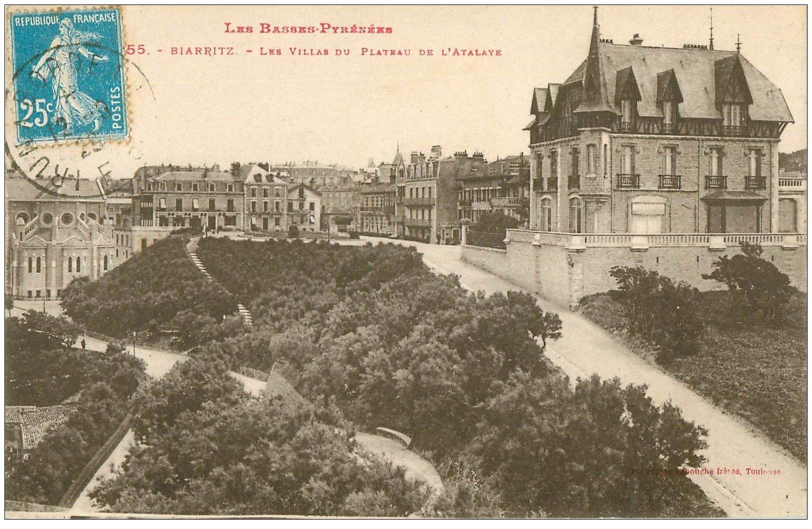 carte postale ancienne 64 BIARRITZ. Villas Plateau Atalaye 1929