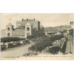 carte postale ancienne 64 HENDAYE. Casino Boulevard de la Promenade. Nombreuses voitures anciennes