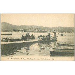carte postale ancienne 64 HENDAYE. Embarcadère au Port. Vue de Fontarabie