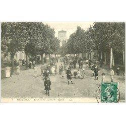 carte postale ancienne 64 HENDAYE. Place du Marché et Eglise 1908