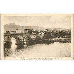 carte postale ancienne 64 HENDAYE. Pont Chemin de Fer et Tramway