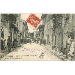 carte postale ancienne 11 CENNE-MONESTIES. Grande Rue vers 1910