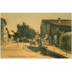 carte postale ancienne 11 CONILHAC-DU-PLAT-PAYS. La Passerelle 1909. Superbe carte toilée