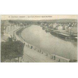carte postale ancienne 02 CHATEAU-THIERRY. Train Quais de la Poterne et Filoirs 1917