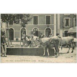 carte postale ancienne 64 PAU. Boeufs à l'Abreuvoir du Marché au Bois