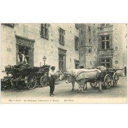 carte postale ancienne 64 PAU. Charrettes à Boeufs au Château