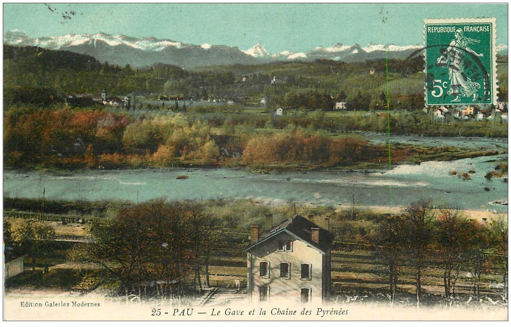 carte postale ancienne 64 PAU. Gave et Chaine des Pyrénées 1911