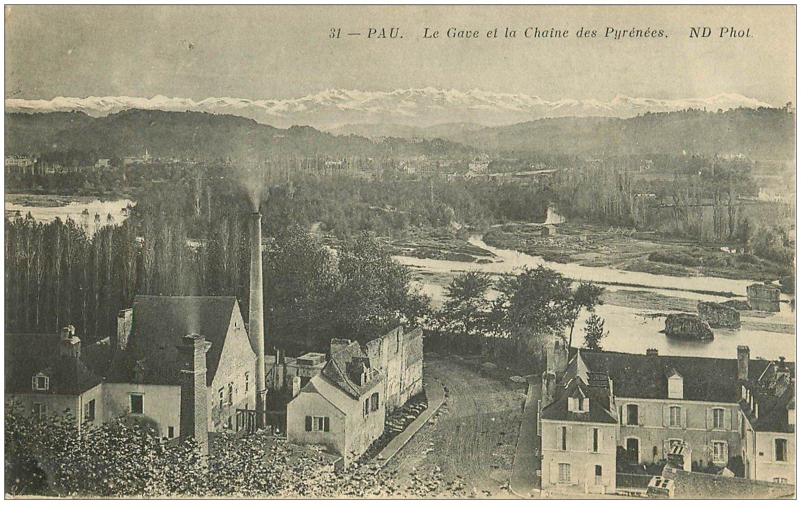 carte postale ancienne 64 PAU. Gave et Pyrénées