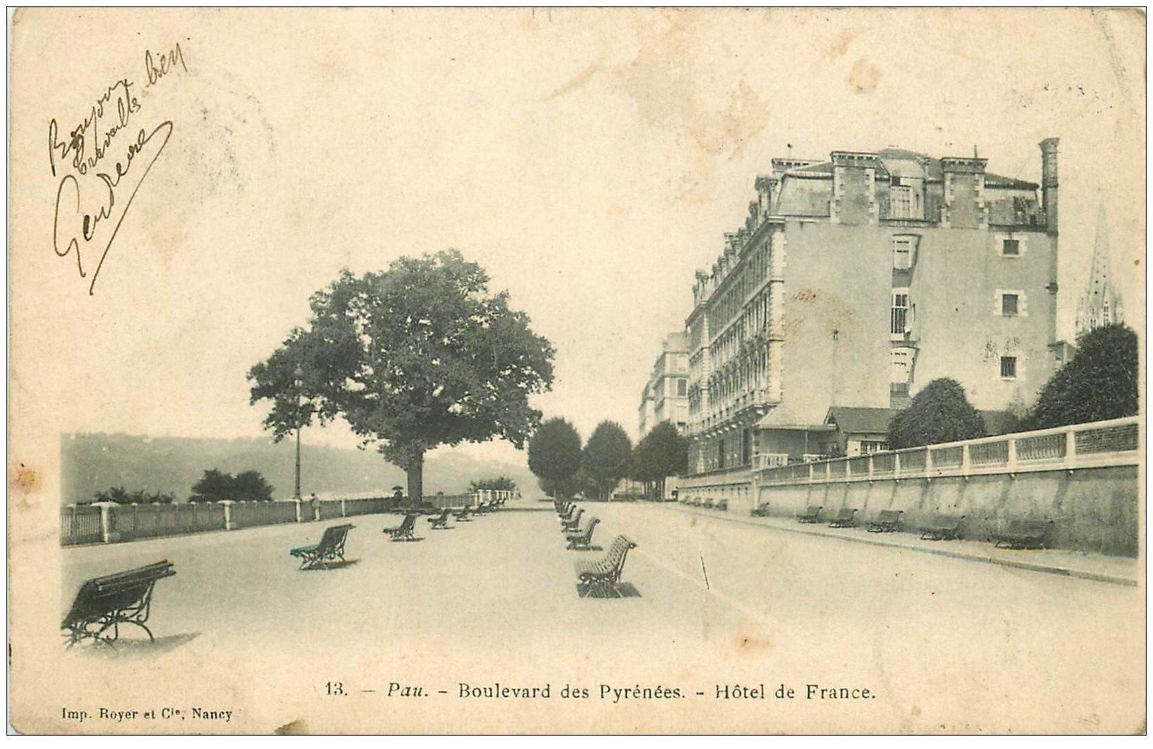 64 PAU. Hôtel de France Boulevard des Pyrénées 1903