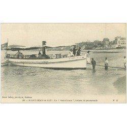 carte postale ancienne 64 SAINT-JEAN-DE-LUZ. Le Saint-Louis bateau de promenade 1919